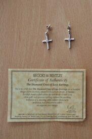 Ladies / Womens Brooks & Bentley The Diamond Cross of Love Earrings Jewellery