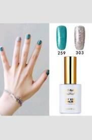 New 2 Pieces RS Gel Nail Polish 259_303 UV LED Sequined Green Sequined Silver...