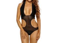 Black Mesh Cut out Monokini size 12 NEW