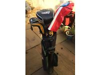 MD Golf SuperStrong irons & woods in bag with stand plus Calloway XR Driver