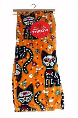 Dream Suite Halloween Orange Black Sugar Skull Skeleton 50 x 70 Velvet Throw - Sugar Suite Halloween