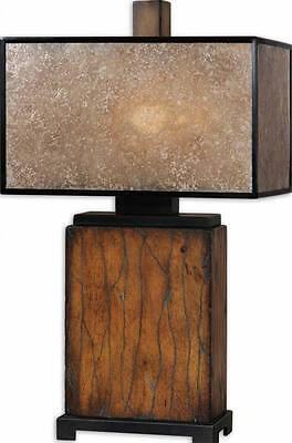 Contemporary RUSTIC WOOD Geometric Table Lamp MICA SHADE Brown Black (Contemporary Geometric Table Lamp)