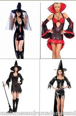 HALLOWEEN COSTUMES WITCH LADY OUTFIT WOMAN FANCY DRESS VAMPIRE BLACK DEVIL EVIL  (Halloween Costumes Devils)