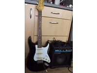 Guitar, practise amp and leads