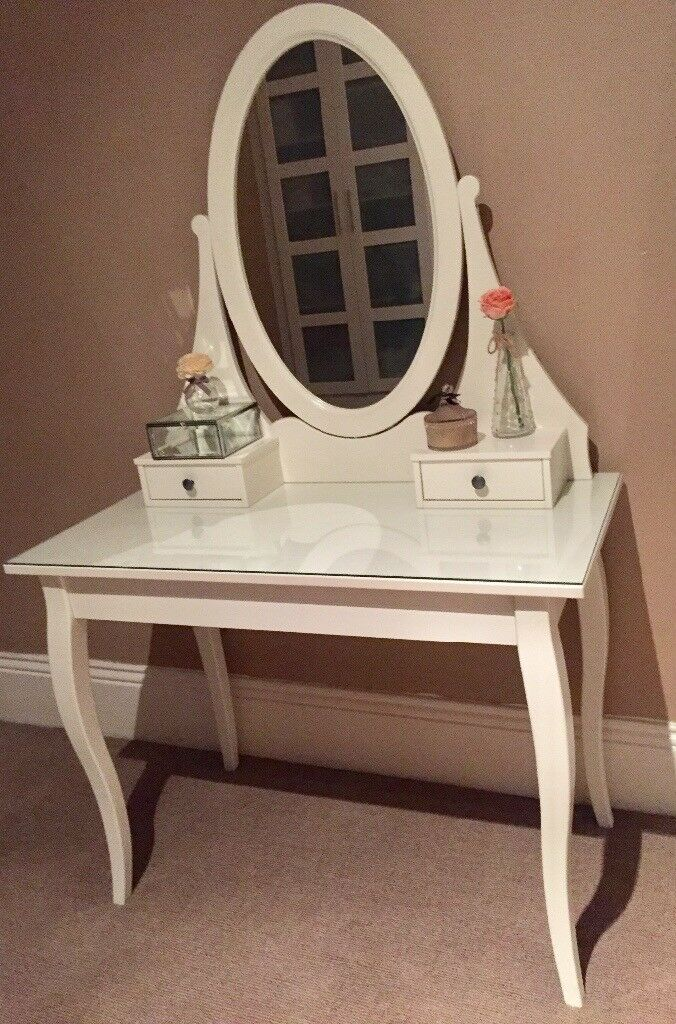 White IKEA dressing table with glass top and stool