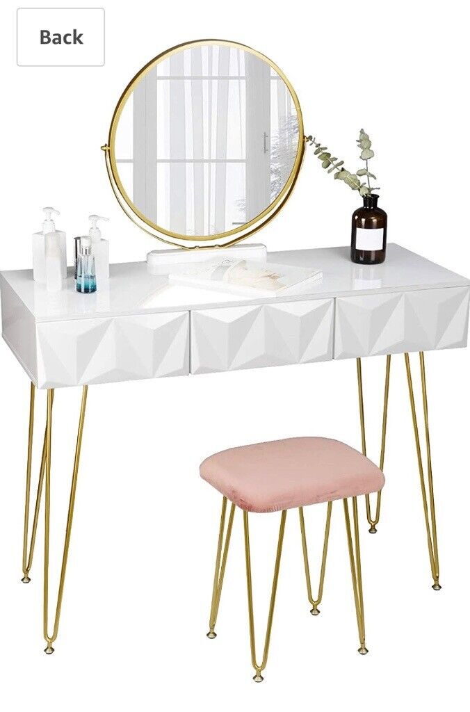 Eugad White Gloss Dressing Table Set, Mirrored Dressing Table Set Gumtree