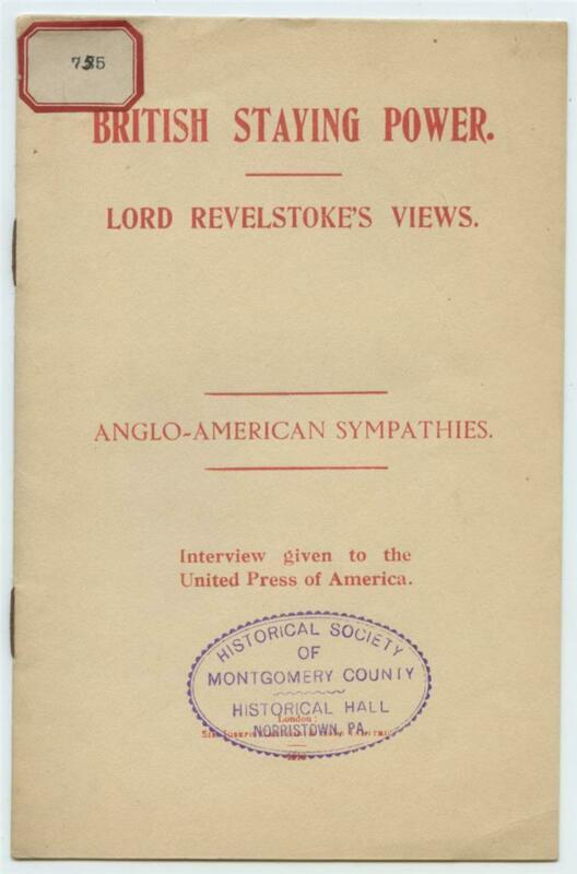 1916 British Staying Power Anglo American Sympathies Lord Revelstoke WWI Booklet