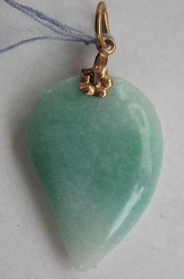 ANTIQUE CHINESE HAND CARVED 14K GOLD  JADE TEARDROP SHAPE NECKLACE PENDANT