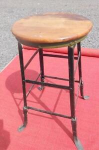 """VINTAGE HEAVY METAL STOOL Steampunk 26x14"""" Made in Canada  THICK WOOD SEAT 1960 Mid-Century"""