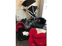silver cross surf travel system pram pushchair buggy stroller 3in1 red black unisex isofix base