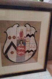 antique 19th century framed tapestry, heraldic
