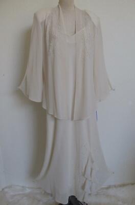 NWT 2 Pc Ivory Chiffon Dress Jacket 18 Beaded Wedding Mother Bride R&M Richards Elegant 2 Piece Jacket Dress