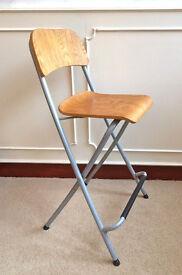 Oak Metal Industrial Folding Bar Stool Retro Kitchen Seat Chair High Back