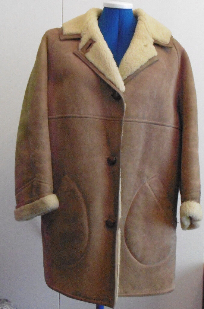 5a52f2d45f032d Vintage Tan Suede & Sheepskin 3/4 Ladies Coat By Richard Draper.Size 16. £28