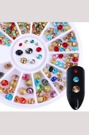 New Wheel Nail Art Colorful Diamonds