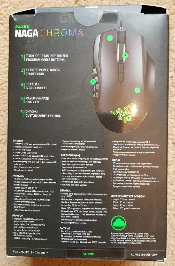 Razer Naga Chroma RGB Illuminated Ergonomic Gaming Mouse 16 000dpi | in  Burton-on-Trent, Staffordshire | Gumtree