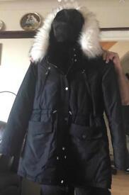 Black ladies warm hood fur coat size 18