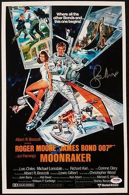 Roger Moore Signed 11X17 Photo Moonraker Movie Poster James Bond 007 Psa Dna Coa