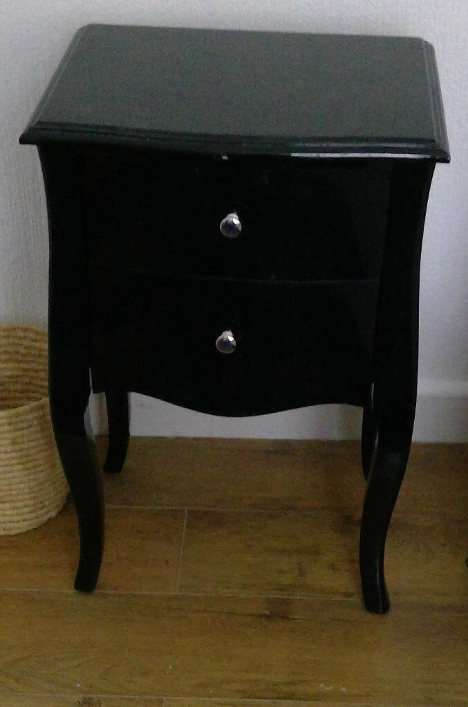 Black Lacquer Bedside Table With Two Drawers