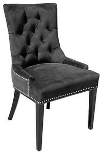 Black or Blue Velvet Fabric Dining Room Chairs with Silver Nail Head Trim