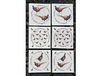 SET OF 6 WOODEN RUSTIC STYLE PHEASANT COASTERS - NEW