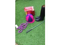 Girls shires horse riding helmet boots whip & harness