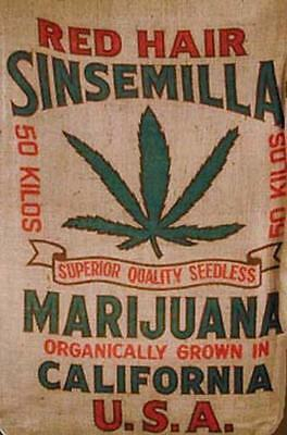 RED HAIR SENSIMILLA PRINTED BURLAP BAG 004 pot leaf marijuana reefer decor sack
