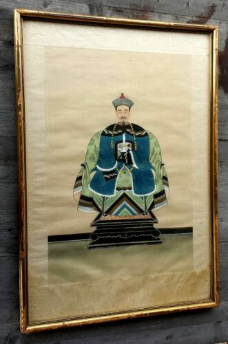 Antique Chinese Silk Painting of Court-Robed Chinese Scholar, Framed
