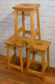 4 Available Kitchen School Stools Industrial Beech Chairs Vintage Restaurant Cafe Stacking Retro