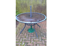 items are FREE if collected metal-glass table, four chairs, parasol and iron base
