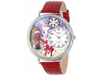 Whimsical Watches Christmas Nutcracker Red Leather and Silvertone - New