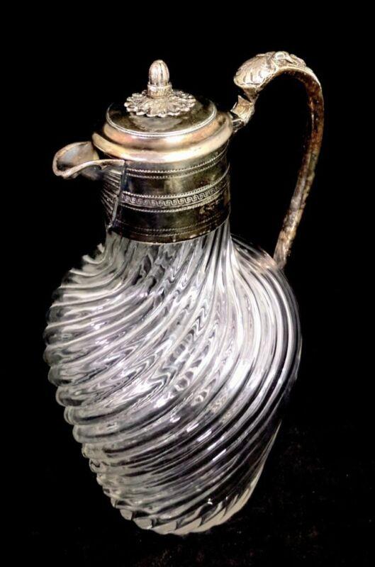 Antique Victorian Sheffield Silver Plated Swirled Glass Ornate Claret Jug