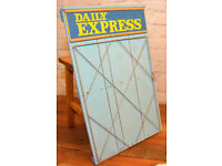 Daily Express 1970s advertising newspaper display stand board rack sign wooden vintage enamel