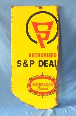 Vintage Old Rare SAN RALEIGH CYCLE Spares & Parts Dealer's porcelain Enamel sign