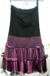 Black and Pink Lace up Dress sleeveless -  md/lg