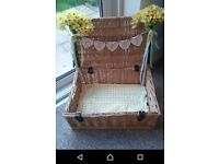 Rustic wedding card box hamper basket shabby chic