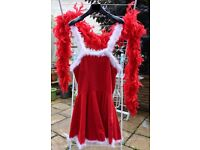 Halloween Christmas Fancy Dress Costume Sexy Santa Size 40 / L true burlesque HIGH QUALITY FEATHER