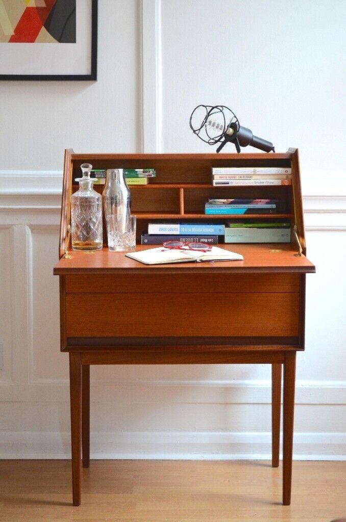 Vintage Danish Style Teak Bureau Tail Cabinet Desk Chest Delivery Modern