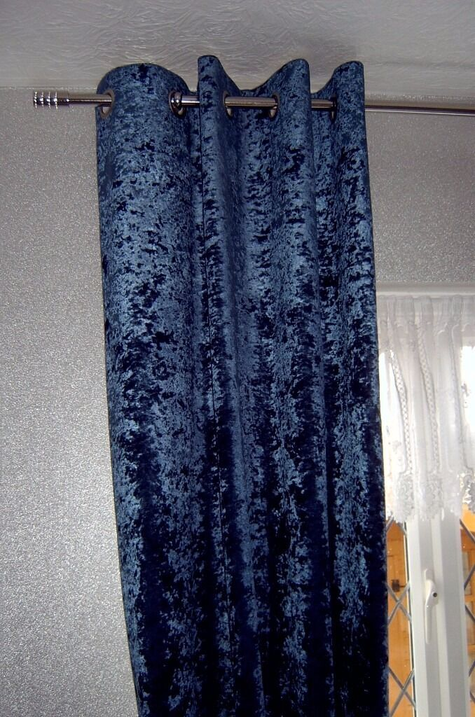MIDNIGHT BLUE CRUSHED VELVET CURTAINS - THERMAL LINED - NEVER BEEN ...