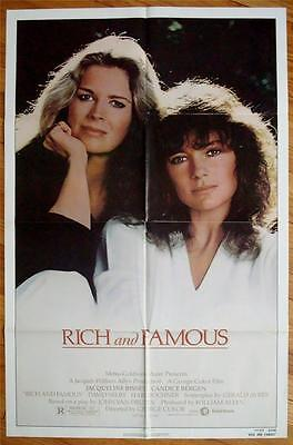 1981 Folded One Sheet (RICH & FAMOUS Orig Movie Poster 1981 FOLDED One Sheet 1SH Candice Bergen )