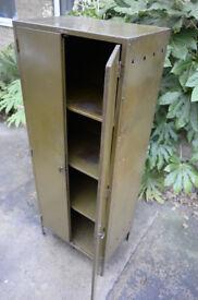 Vintage green metal cabinet - retro industrial cupboard shelves