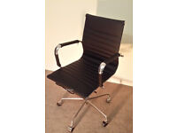 BRAND NEW PREMIUM QUALITY EAMES RIBBED BLACK OFFICE CHAIRS BOARDROOM RECEPTION CHAIRS FREE DELIVERY