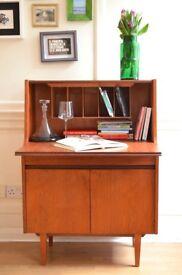 Vintage Midcentury Elliotts of Newbury teak bureau / drinks cabinet Delivery. Modern / Danish style.