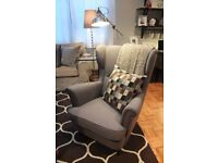 IKEA strandmon armchair wings grey - like new