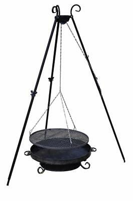 Adjustable Tripod Garden BBQ Outdoor Grill Barbeque Charcoal Fireplace Patio