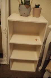 *Lovely* white wooden shelves, book case storage, good condition