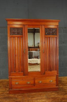 Antique Edwardian Walnut Double Wardrobe