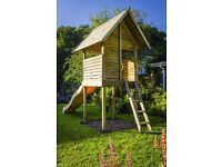 SOLID WOODEN PLAY DEN / TREE HOUSE WITH SLIDE
