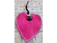 Pink Love Heart Lilac Black Buttons Gift Handmade Room Wall Home Hanging Decor