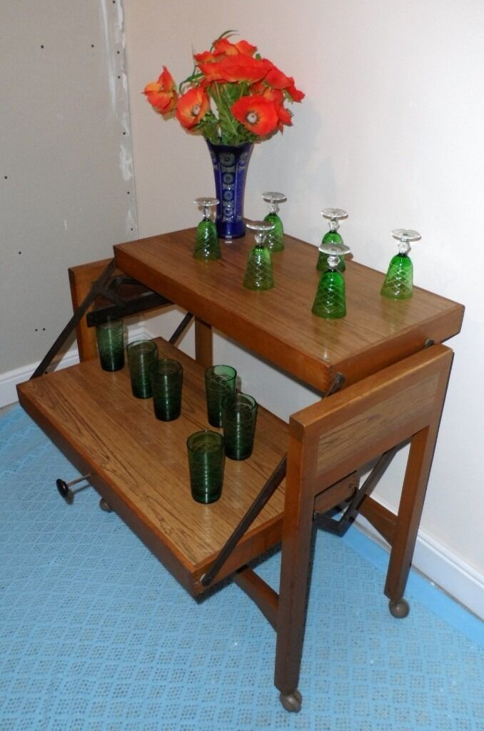 1970's Hostess Trolley With A spring loaded Folding Table Top Oak .